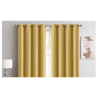 2x 100% Blockout Curtains Panels 3 Layers Eyelet Mustard 140x230cm