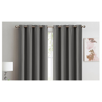 2x 100% Blockout Curtains Panels 3 Layers Eyelet Charcoal 180x230cm