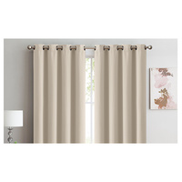 2x 100% Blockout Curtains Panels 3 Layers Eyelet Beige 240x230cm