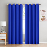2x 100% Blockout Curtains Panels 3 Layers Eyelet Blue 300x230cm