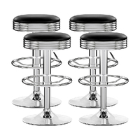 Artiss 4x Leather Bar Stools Kitchen Bar Stool Dining Chair Black Anton Swivel
