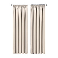 Artqueen 2X Pinch Pleat Pleated Blockout Curtains Sand 240cmx230cm