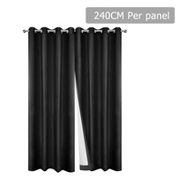 Art Queen 2 Panel 240 x 230cm Eyelet Blockout Curtains - Black