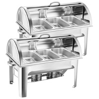 SOGA 2X 3L Triple Tray Stainless Steel Roll Top Chafing Dish Food Warmer