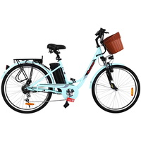 "Phoenix 26"" Electric Bike eBike e-Bike Bicycle City Battery Motorized with Basket Blue"