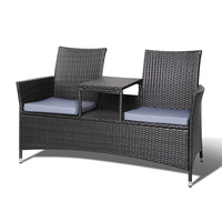 Gardeon 2 Seater Outdoor Wicker Bench - Black