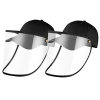 2X Outdoor Protection Hat Anti-Fog Pollution Dust Saliva Protective Cap Full Face HD Shield Cover Adult Black