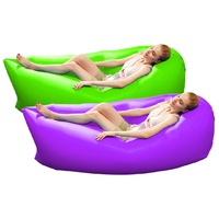 2X Fast Inflatable Sleeping Bag Lazy Air Sofa Green/Purple