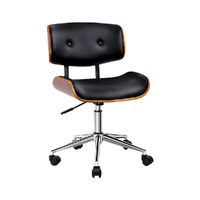 Artiss Wooden & PU Leather Office Desk Chair - Black