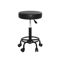 Artiss Round Salon Stool Stools Black Swivel Barber Hair Hydraulic Chairs Lift