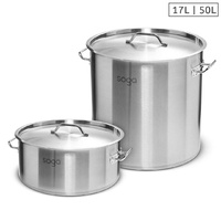 SOGA 17L Wide Stock Pot  and 50L Tall Top Grade Thick Stainless Steel Stockpot 18/10