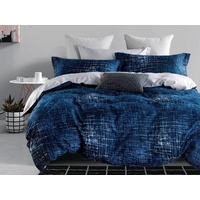 Queen Size 3pcs Navy Matrix Quilt Cover Set