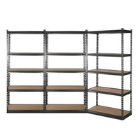 3x0.9M 5-Shelves Steel Warehouse Shelving Racking Garage Storage Rack Grey